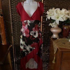 Rosegal Size 1X Red Floral Dress NWT